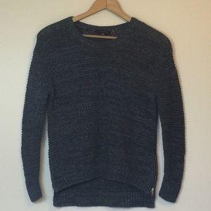 ANN TAYLOR Navy & Silver High-Low Sweater Zip Trim